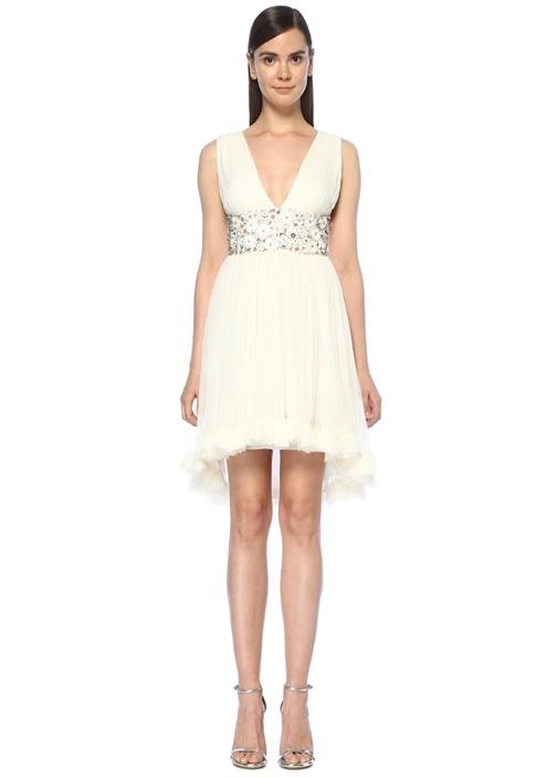 Beyaz V Yaka Beli İşlemeli Mini İpek Elbise