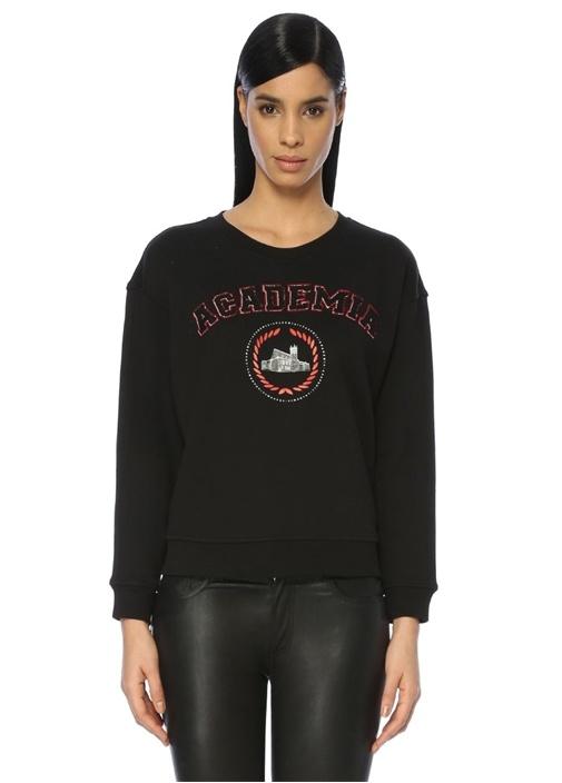 Siyah Düşük Kollu Logo Aplikeli Sweatshirt