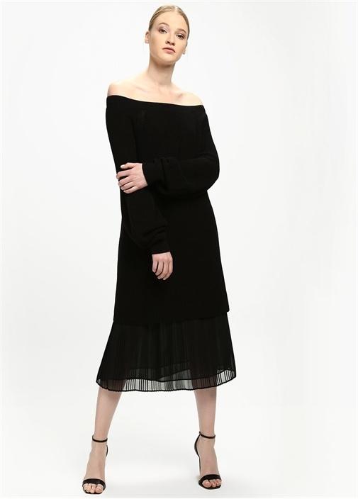 Siyah Omzu Açık Triko Mini Elbise