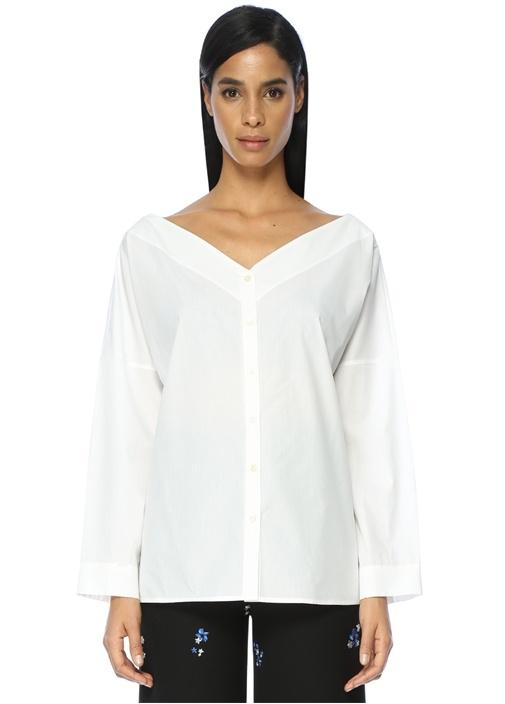 V Yaka Beyaz Gömlek