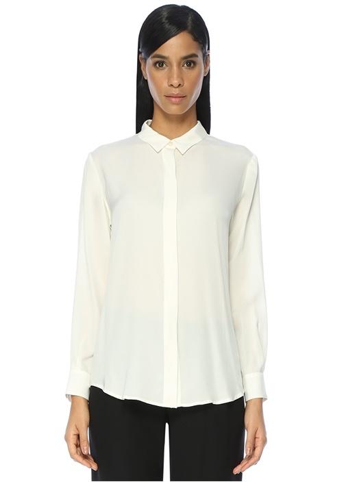 Klasik Yaka Sırtı Düğmeli Beyaz İpek Gömlek