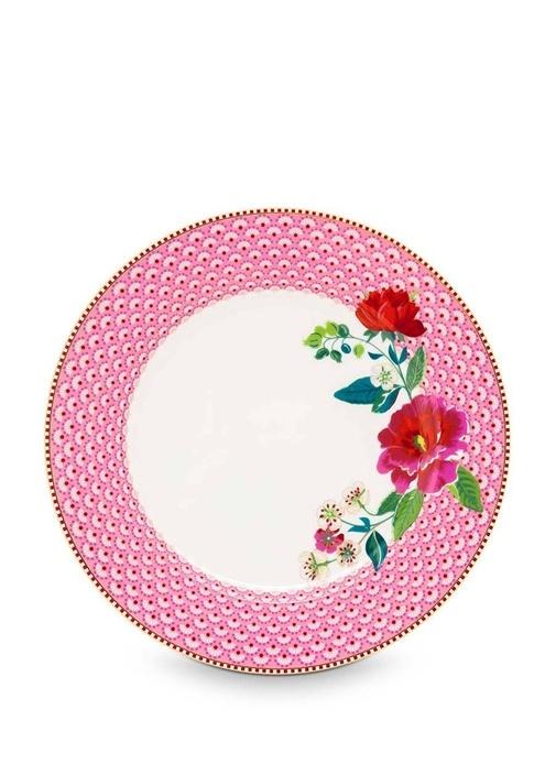Floral Pip Güllü Pembe Yemek Tabağı