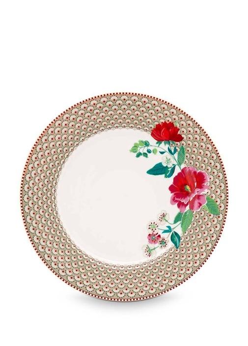 Floral Pip Güllü Haki Yemek Tabağı