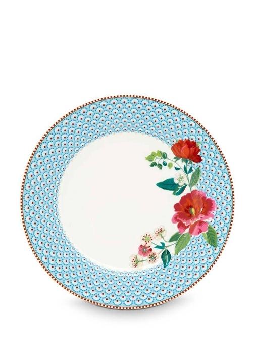 Floral Pip Güllü Mavi Yemek Tabağı