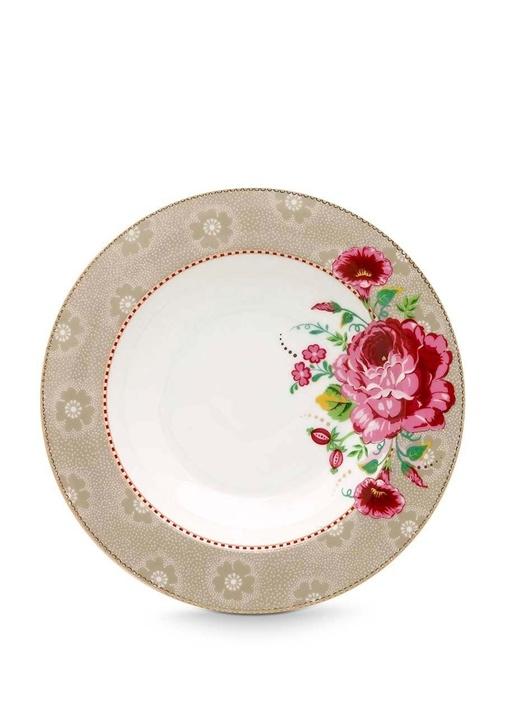 Floral Pip Güllü Haki Çorba Tabağı