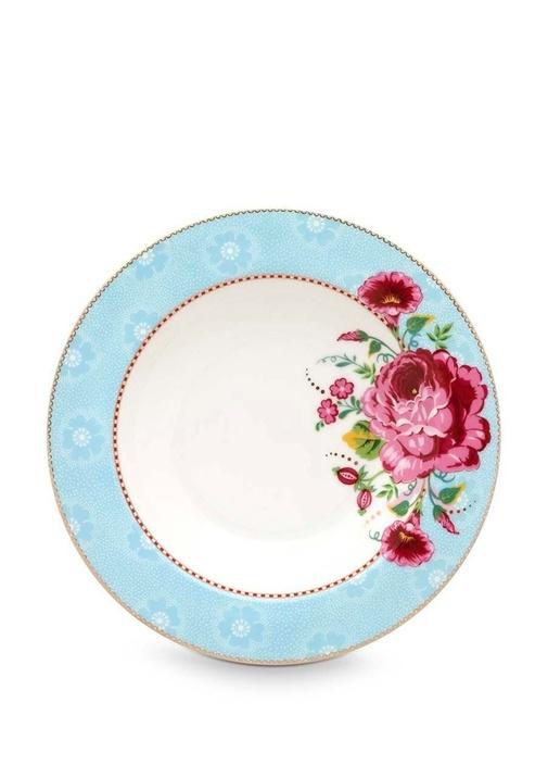Floral Pip Güllü Mavi Çorba Tabağı