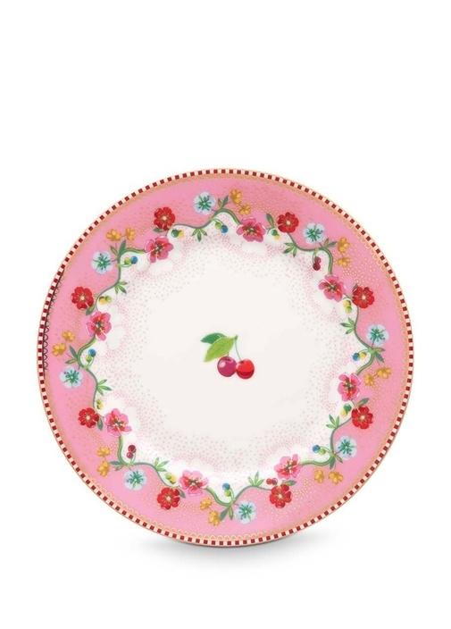 Floral Pip Kiraz Desenli Pembe PorselenKek Tabağı