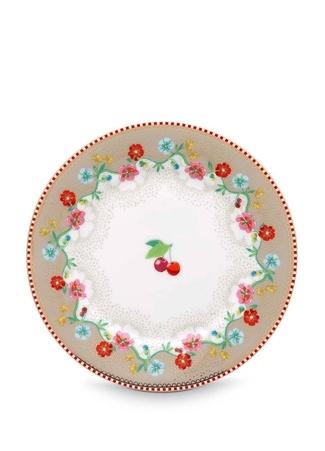 Pip Studio Floral Kiraz Desenli Haki Porselen Kek Tabağı Standart