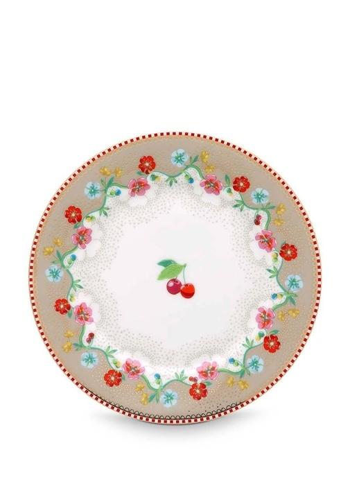 Floral Pip Kirazlı Haki Kek Tabağı