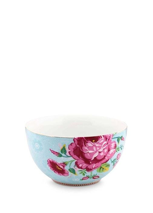 Floral Pip Güllü Mavi Kase