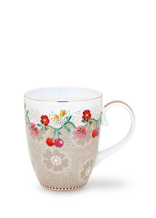 Floral Pip Kirazlı Haki Mug