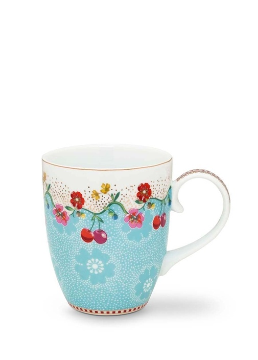 Floral Pip Kirazlı Mavi Mug