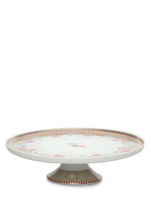 Floral Pip Kirazlı Haki Mini Kek Standı