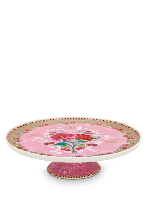 Floral Pip Güllü Pembe Kek Standı