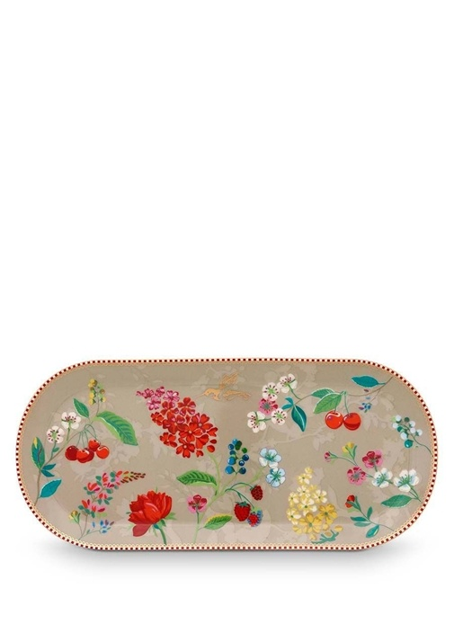 Floral Pip Kirazlı Haki Oval Kek ServisTabağı