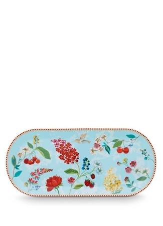 Pip Studio Floral Kirazlı Mavi Oval Kek ServisTabağı Standart