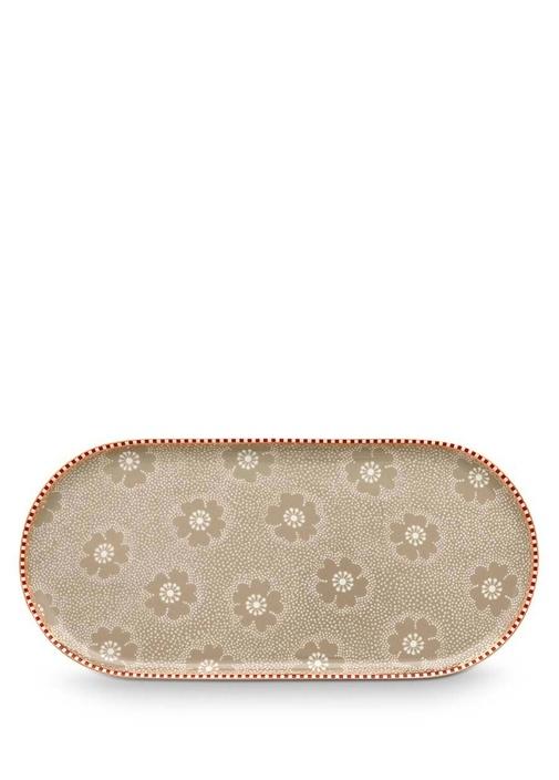 Floral Pip Haki Oval Servis Tabağı