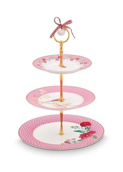 Floral Pip 3'lü Pembe Kek Standı