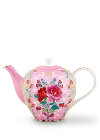 Pip Studio Floral Mavi Çiçek Desenli Porselen Demlik Pembe Standart