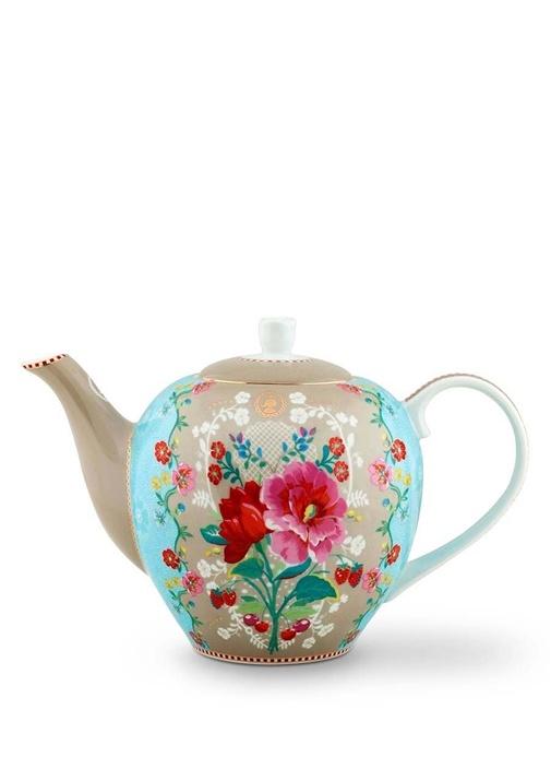 Floral Haki Çiçek Desenli Porselen Demlik