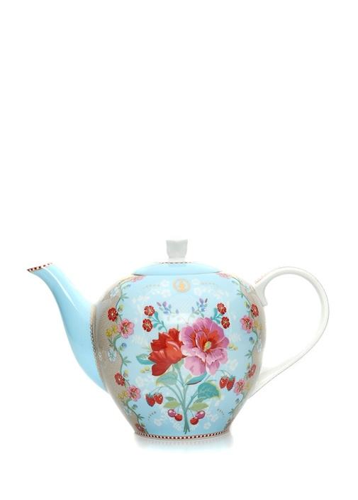 Floral Mavi Çiçek Desenli Porselen Demlik