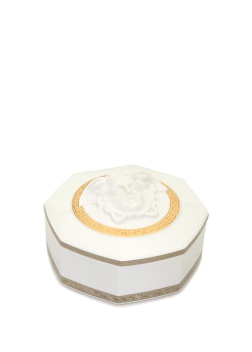 Gorgona Beyaz Gold 15 cm Dekoratif Porselen Kutu