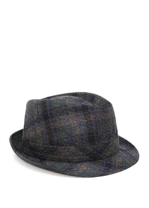 Lacivert Ekose Desenli Erkek Yün Şapka