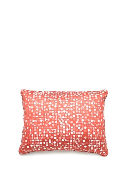 Turuncu Puantiye Desenli Dekoratif Yastık