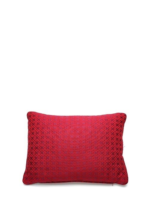 Bordo Geometrik Desenli Dekoratif Yastık