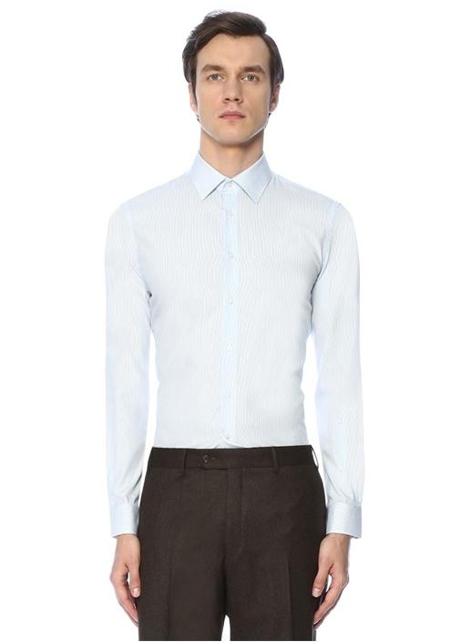 Custom Fit Modern Yaka Çizgili Gömlek