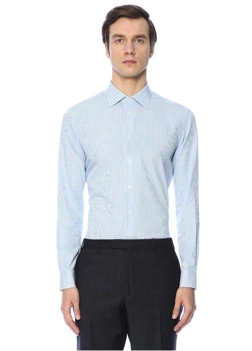 Custom Fit Mavi Beyaz Açık Yaka Çizgili Gömlek