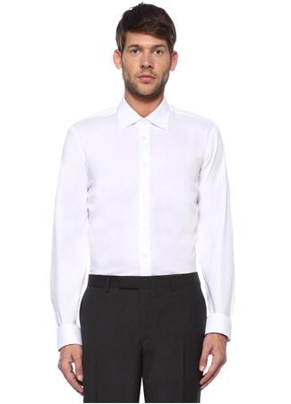 Custom Fit Beyaz Açık Yaka Gömlek