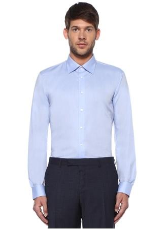 Custom Fit Mavi Açık Yaka Gömlek
