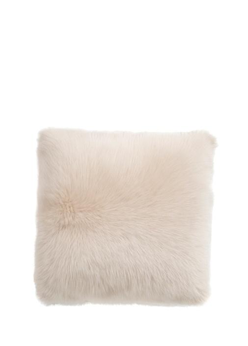 Beyaz Shearling Yün Dekoratif Yastık