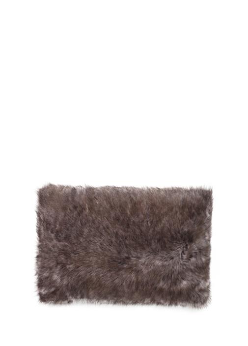 Kahverengi Shearling Yün Dekoratif Yastık