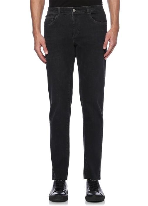 Siyah Casual Şeritli Yırtık Detaylı Jean Pantolon