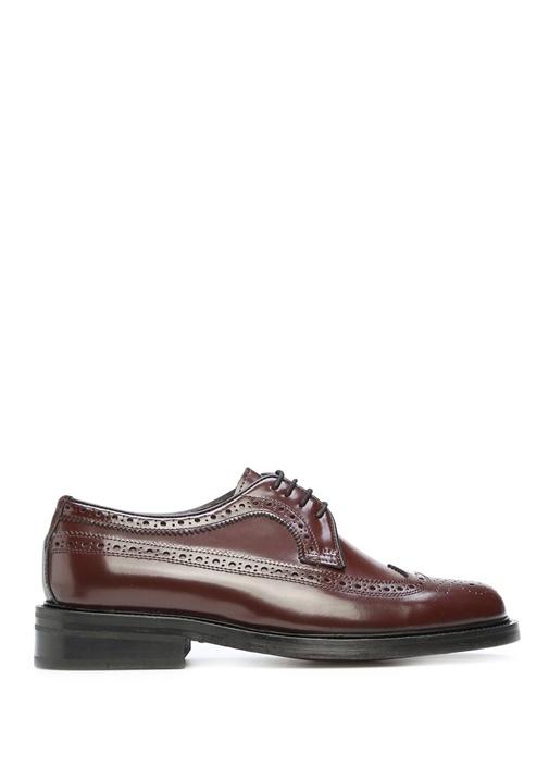 Bordo Delik Detaylı Erkek Deri Ayakkabı