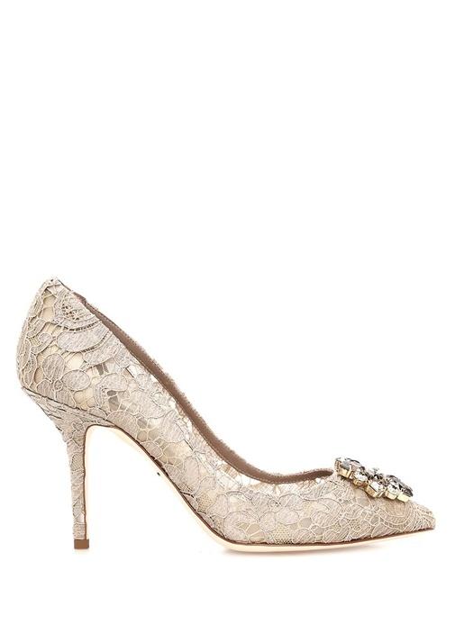 The Rainbow Lace Bej Taşlı Topuklu Ayakkabı