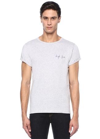 Gri Melanj Bisiklet Yaka Nakışlı Basic T-shirt