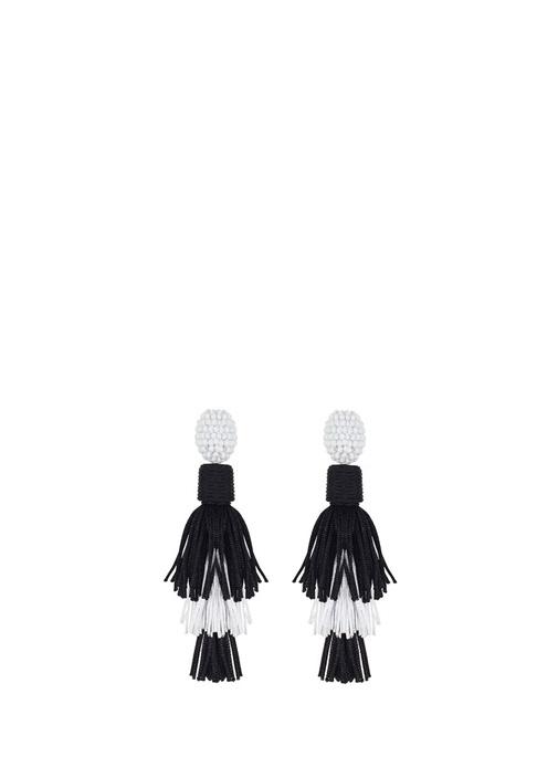 Siyah Beyaz Püskül Detaylı Kadın Küpe