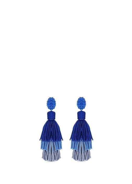 Mavi Degrade Püskül Detaylı Kadın Küpe
