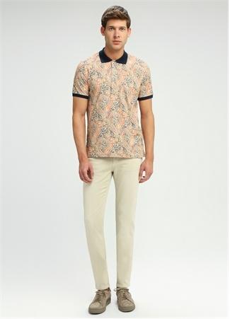 Slim Fit Polo Yaka Şal Desenli T-shirt