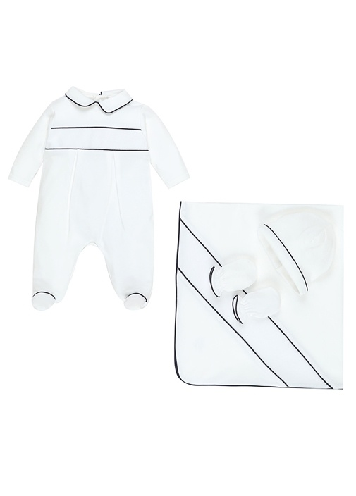 Beyaz Lacivert Çizgili 4lü Erkek Bebek Hediye Seti