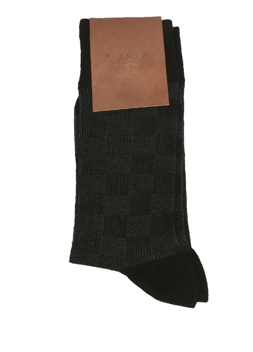 Siyah Bambu Kare Desenli Erkek Çorap