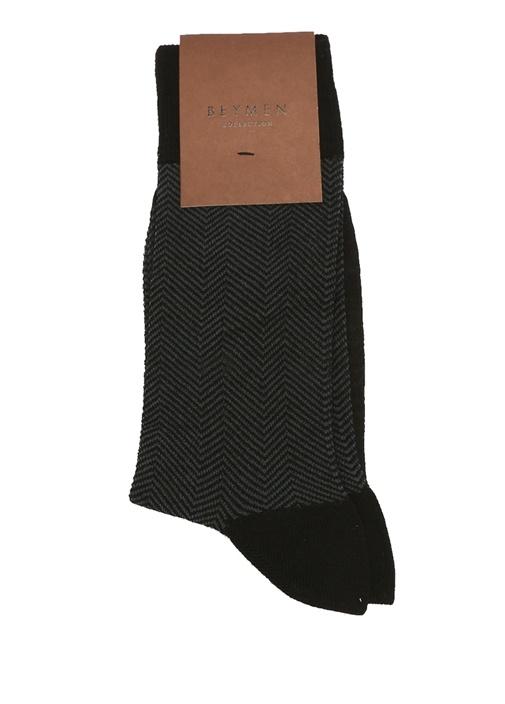 Siyah Bambu Balıksırtı Desenli Erkek Çorap