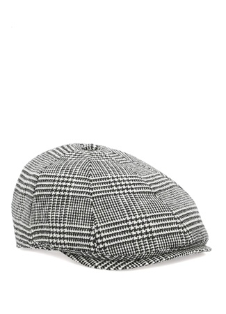 Siyah Beyaz Kazayağı Desenli Kasket Şapka