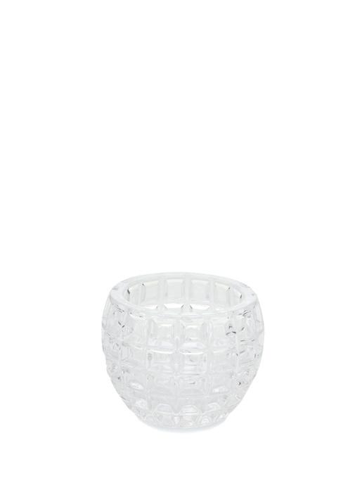 Mini Top Şeffaf Kare Desenli Kristal Mumluk