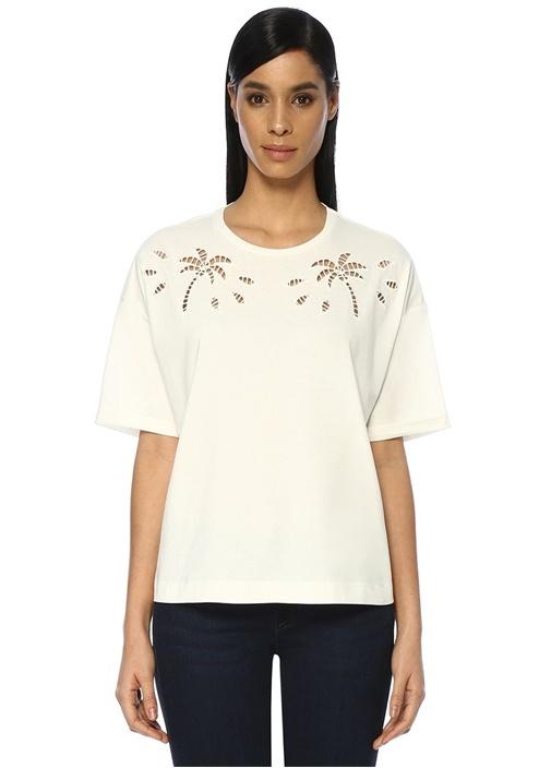 Beyaz Düşük Omuzlu Lazer Kesim Detaylı T-shirt