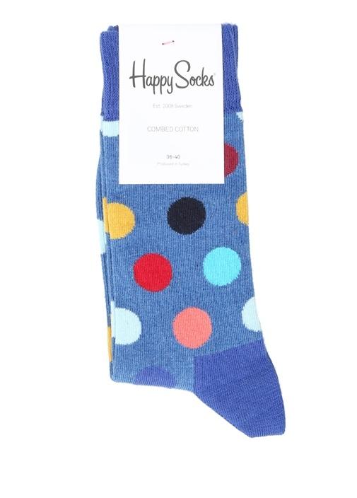 Mavi Renkli Puantiyeli Logo Jakarlı Kadın Çorap