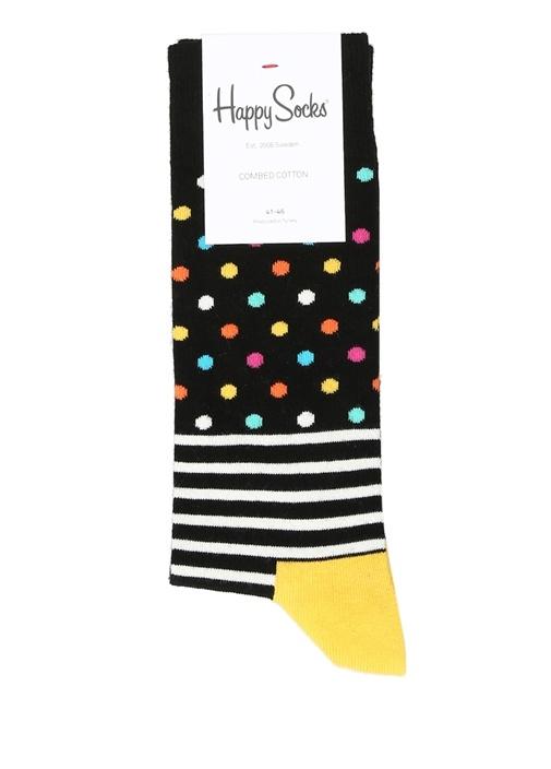 Siyah Çizgili Puantiyeli Erkek Çorap